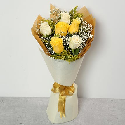 White and Yellow Roses Bouquet BH: Gift Delivery Bahrain