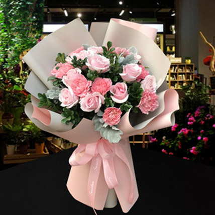 Pink Roses and Carnations Bouquet: Gifts To China