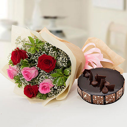 Beautiful Roses Bouquet With Chocolate Cake EG: Cake to Egypt
