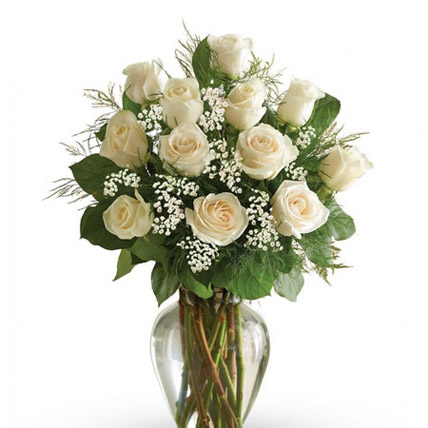 12 White Roses Arrangement: Funeral Flowers to Abu Dhabi