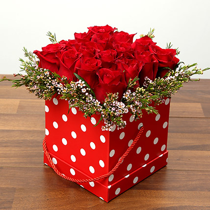 16 Red Roses In A Cardboard Box: Valentine Flowers for Him
