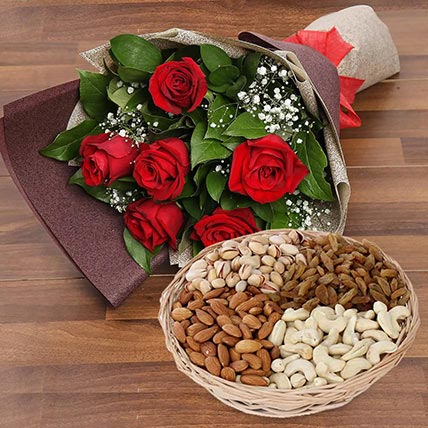 6 Red Roses Bouquet With Dry Fruits: Anniversary Flowers & Dry Fruits