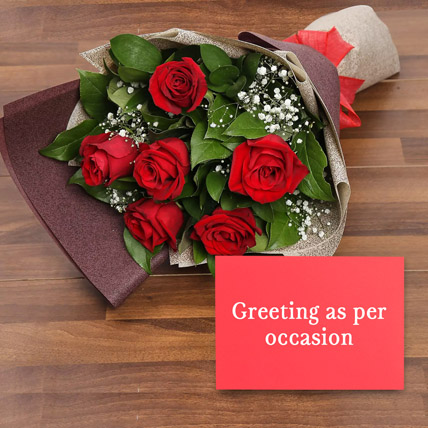 6 Red Roses Bouquet With Greeting Card: Flowers & Greeting Cards