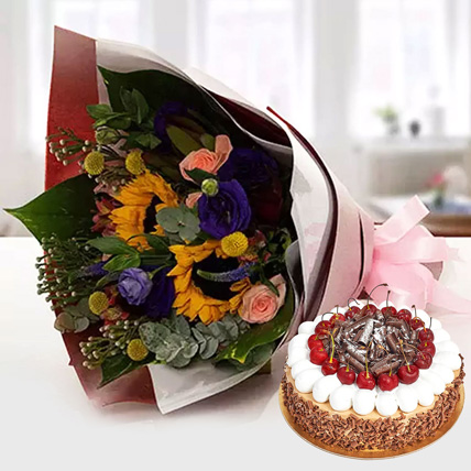 Alluring Flower Bouquet With Blackforest Cake: Flowers & Cakes for Mothers Day