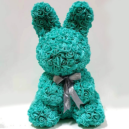 Artificial Roses Sky Blue Rabbit Toy: