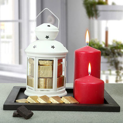 Assorted Chocolates and Red Candles Combo: Gift Hampers