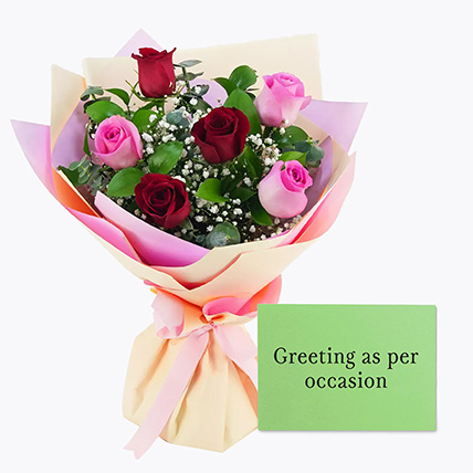 Attractive Roses Bouquet With Greeting Card: Anniversary Flowers & Greeting Cards