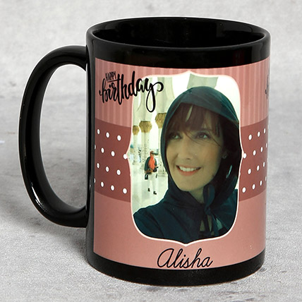 Black Personalised Birthday Mug: Birthday Mugs