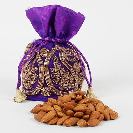 Blue Velvet Potli with Almonds 200 gms: Karwa Chauth Gifts