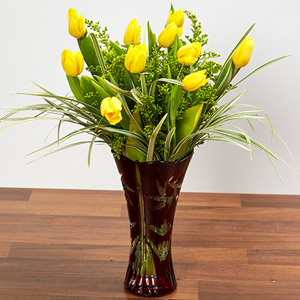 Bright Yellow Tulips In Maroon Vase: Birthday Flower Arrangements
