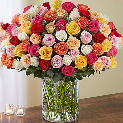 Bunch of 100 Mixed Roses In Glass Vase: Anniversary Flowers