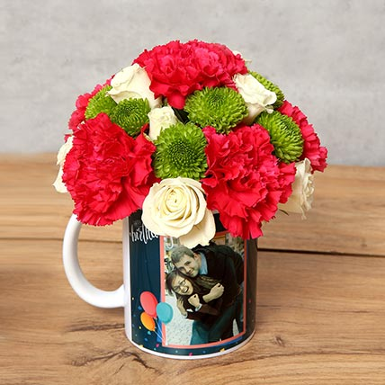 Carnations and Roses in Birthday Mug: Birthday Personalised Gifts