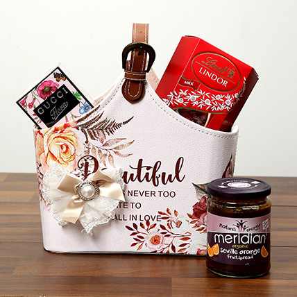 Chocolates With Designer Ladies Bag: Valentine Day Gift Hampers for Wife