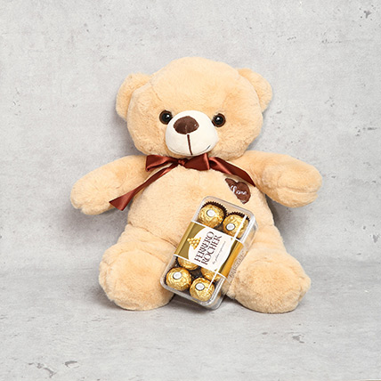 Coffee Brown Teddy Bear and Ferrero Rocher Chocolate Box: