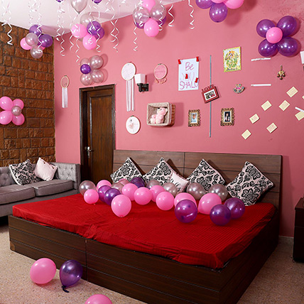 Colorful Balloons Decor Pink Purple & Silver:  Balloon Decorations