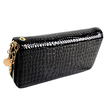 Croco Print Double Zip Leather Wallet: Accessories