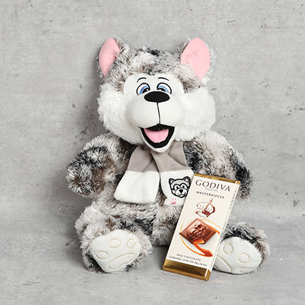 Cute Dog Soft Toy and Godiva Chocolate Bar Set: