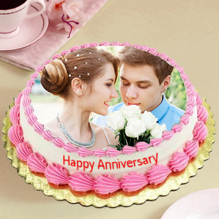 Delicious Anniversary Photo Cake: Custom Cakes