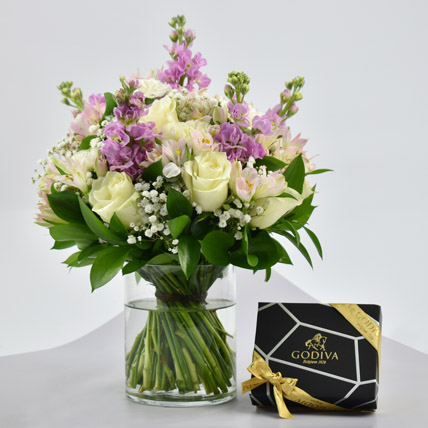 Exotic Blossoms and Godiva Chocolate Bar: Chocolate Delivery in Dubai