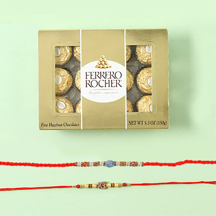 Ferrero Rocher With Rakhi Set:  Rakhi Delivery