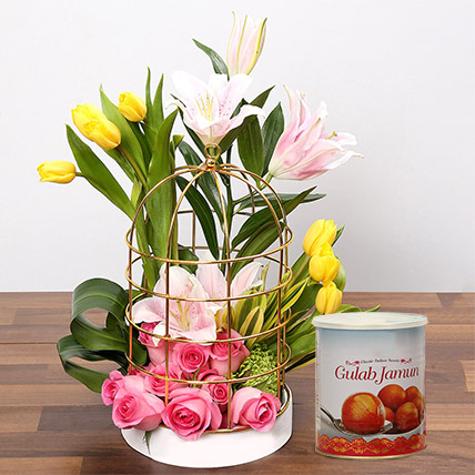 Floral Cage Arrangement and Gulab Jamun Combo: Diwali Flowers & Sweets