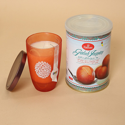 Gulab Jamun and Decorative Candle Combo: Sweets for Diwali