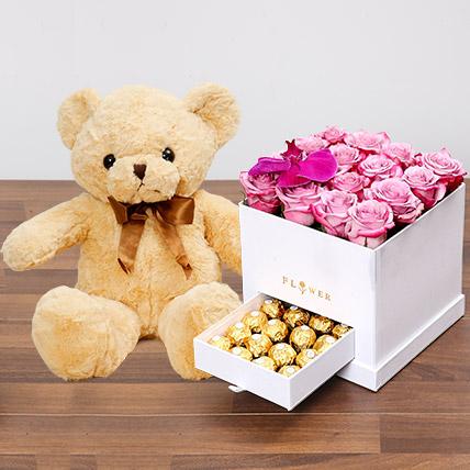 Hues Of Purple and Teddy Bear: Flowers & Teddy Bears