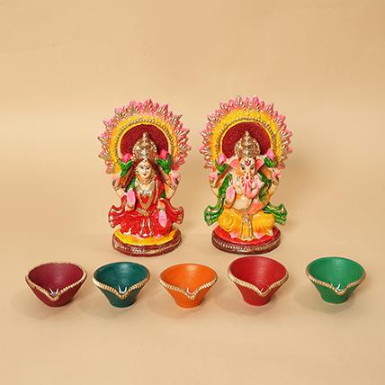 Lakshmi Ganesha Idols and Diyas Combo: Diwali Gifts