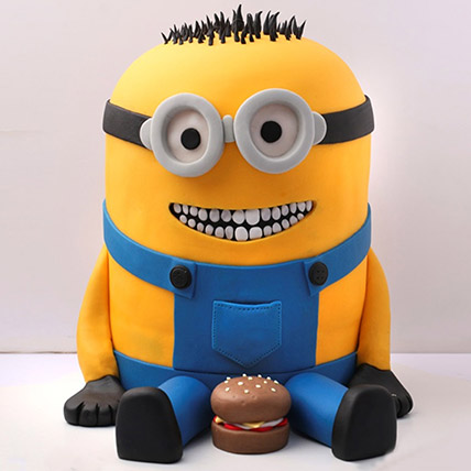 Lovable Minion With A Burger Cake 3 Kg: Anniversary Designer Cakes