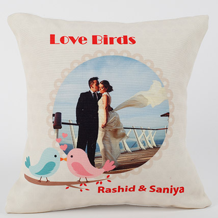 Love Birds Personalized Cushion: Best Birthday Gift for Wife