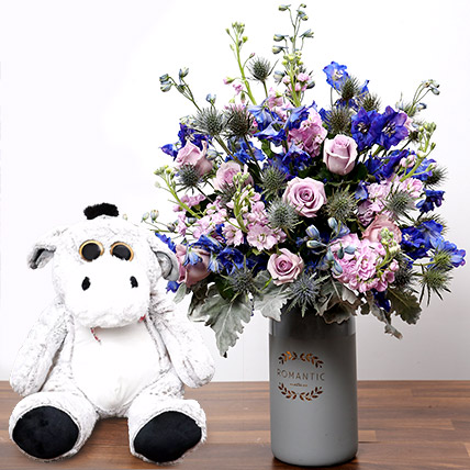 Matthiola and Eryngium In Vase With Teddy Bear: Birthday Flowers & Teddy Bears