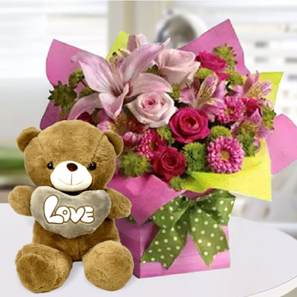 Mixed Flower Arrangement and Teddy Combo: Anniversary Flowers & Teddy Bears