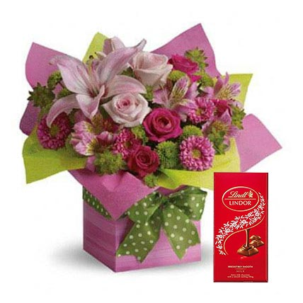 Mixed Flowers Arrangement and Lindt Chocolate Combo: Anniversary Chocolates