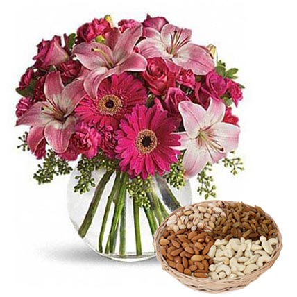 Mixed Flowers Vase Arrangement and Dry Fruits Combo: Flowers & Dry Fruits