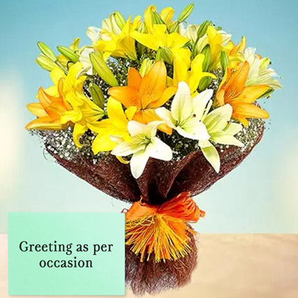 Mixed Lilies Bouquet With Greeting Card: Birthday Flowers & Greeting Cards
