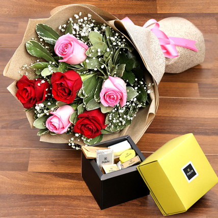 Mixed Roses Bouquet and Patchi Chocolate Combo: Flowers & Chocolates