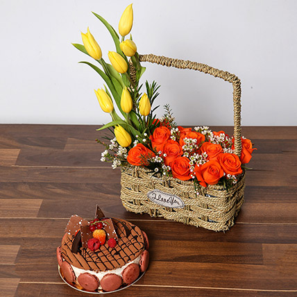 Orange Roses and Yellow Tulips Basket With Cake: Anniversary Flowers & Cakes