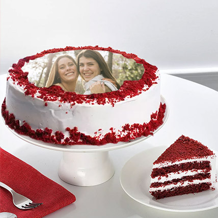 Personalised Red Velvet Photo Cake: Red Velvet Cake Dubai