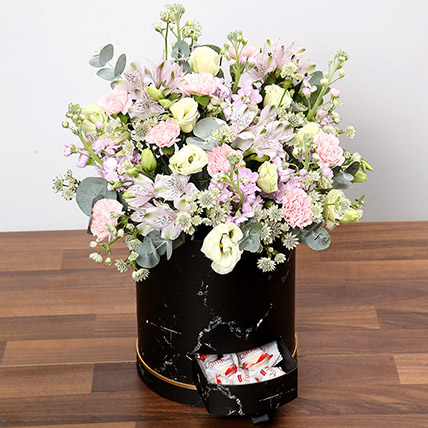 Pink and White Floral Box With Chocolates: Flower in a Box