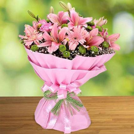 Pink Beauty: Congratulations Flower Bouquet