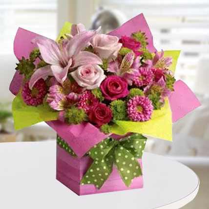 Pretty Pink Present: Congratulations Flower Bouquet