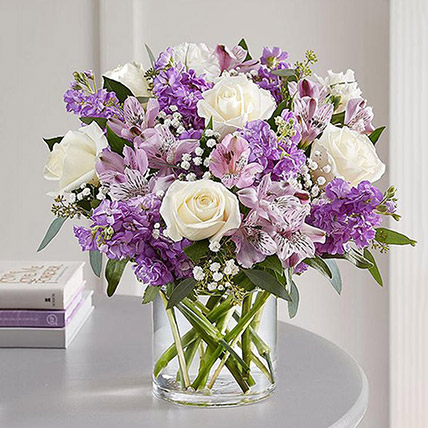Purple and White Floral Bunch In Glass Vase: New Arrival Gifts in Dubai
