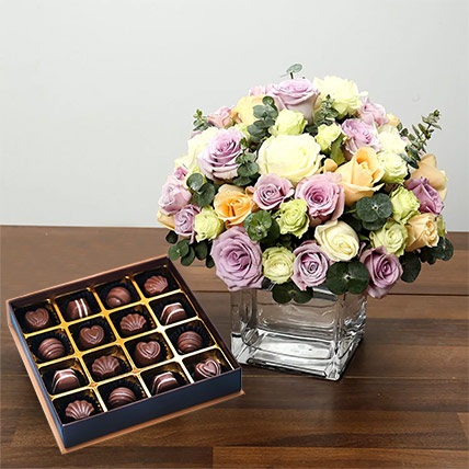 Purple and White Roses Array With Belgian Chocolates: Flowers & Chocolates