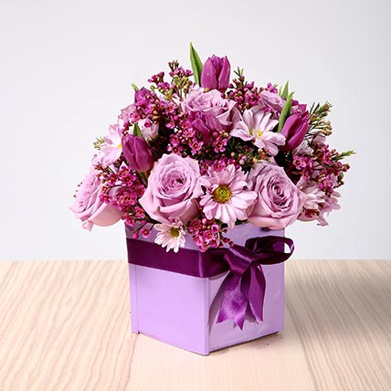 Purple Flowers Vase Arrangement: