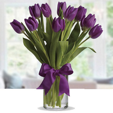 Purple Tulip Arrangement: Gifts for Womens Day