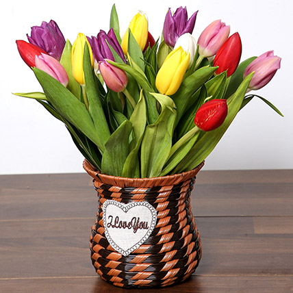 Quaint Mixed Tulips Basket: Order Flowers