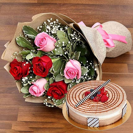 Red and Pink Rose Posy With Triple Chocolate Cake: Anniversary Flowers & Cakes