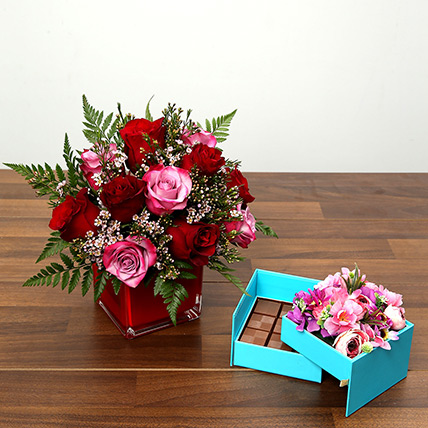 Red and Pink Roses With Belgium Chocolates: Valentine Flowers in Abu Dhabi