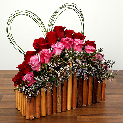 Red and Purple Roses In A Wooden Base: Valentine Gifts