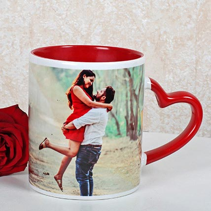 Red And White Personalized Mug: Anniversary Personalised Gifts